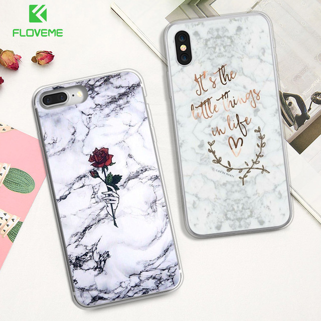 finest selection 55246 56bff US $1.79 20% OFF|Aliexpress.com : Buy FLOVEME Soft TPU Case For iPhone 7 8  Plus X XS Max Luxury Silicone Rose Marble Case For iPhone XS XR 8 6 6S Plus  ...
