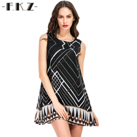 FKZ Fashion Women Sweet Black Chiffon Dress Stylish Sexy O Neck Casual Slim Beach Summer Sundress Boho Mini Dress vestidos 8360