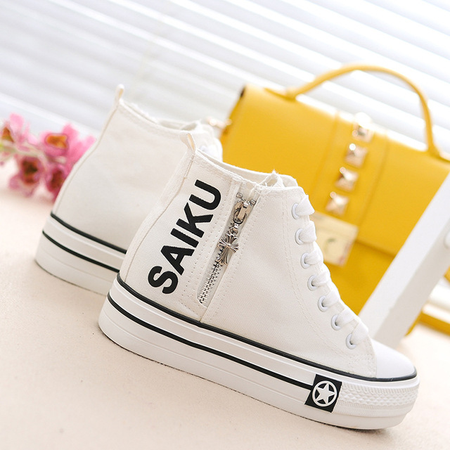 Fashion 2017 Spring Women Casual Shoes Height Increasing Zipper Canvas Lace Up Comfort Ladies Flats Shoes size 35-40