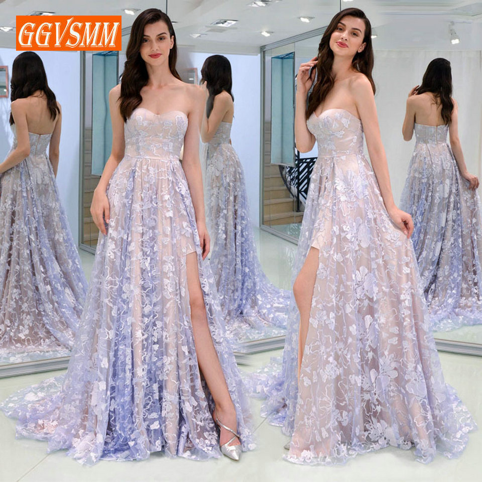 Sexy Light Lavender Lace Long   Evening   Gowns 2019   Evening     Dresses   Women Party Cheap Sweetheart Zipper A Line Formal   Dress   Prom