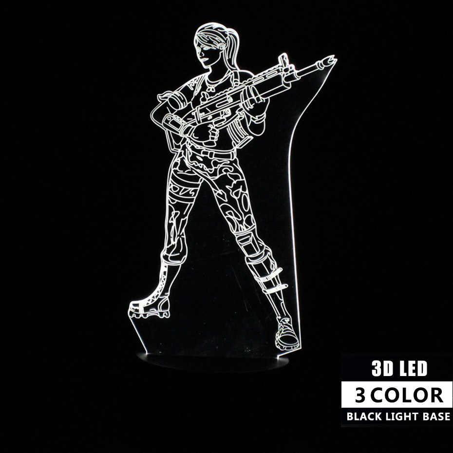 Trận chiến Royale Da Đèn cảm Ứng Điều Khiển từ xa 3D Đèn Bàn Đèn Ngủ Led Ảo Ảnh Đèn