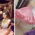 2016 rosa prom vestido A Linha de moda sexy eveing vestido Apliques puffy saia de cristal beading curto Vestido de Baile