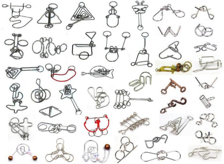 46 pièces/ensemble classique métal fil Puzzle magique esprit cerveau teaser Puzzles jeu jouets pour adultes enfants