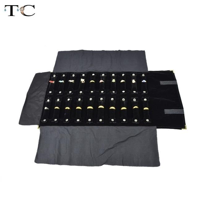 Jewelry Foldable Metal Corner Roll Bag for Travel Portable Carring Case Velvet Organizer Multi Functional Rings Storage Box