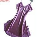 Сексуальные Женщины Шелкового Атласа Плюс Размер Ночь Платье Без Рукавов Ночные Рубашки Кружева Пижамы V-образным Вырезом Ночная Рубашка Рубашки Пижамы Для Дам