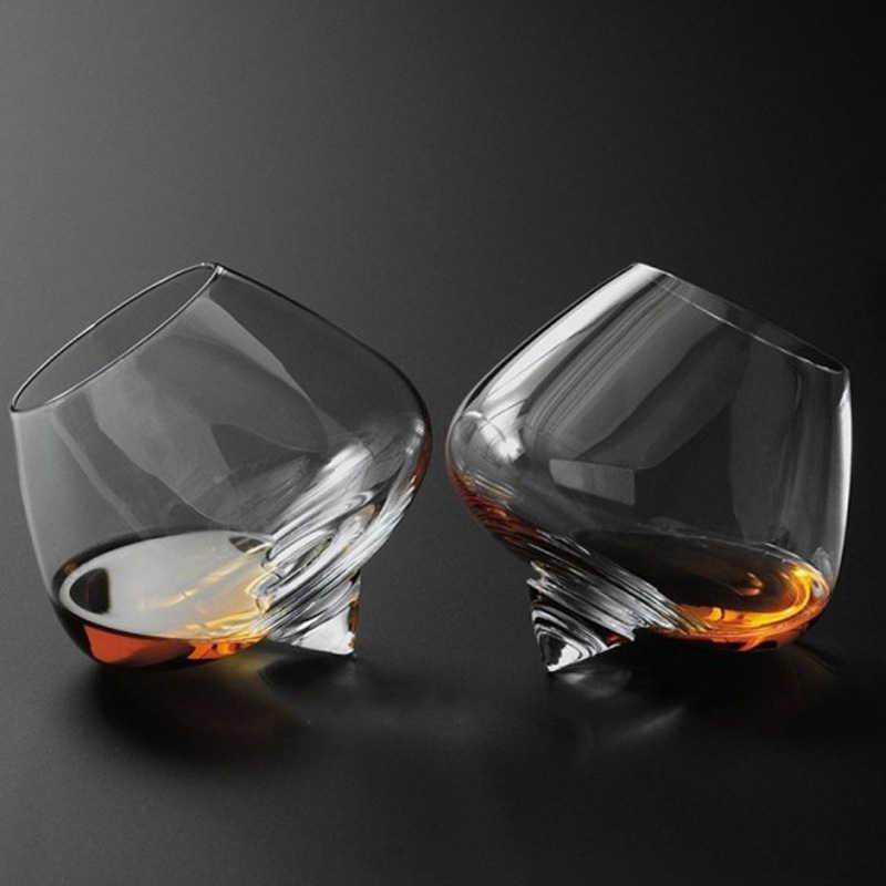 Szeroki brzuch Whisky likier kubek do picia kieliszek do wina obróć Tumbler stożek Bullet dolny pasek Brandy kryształowe okulary Whisky Vaso Gafas