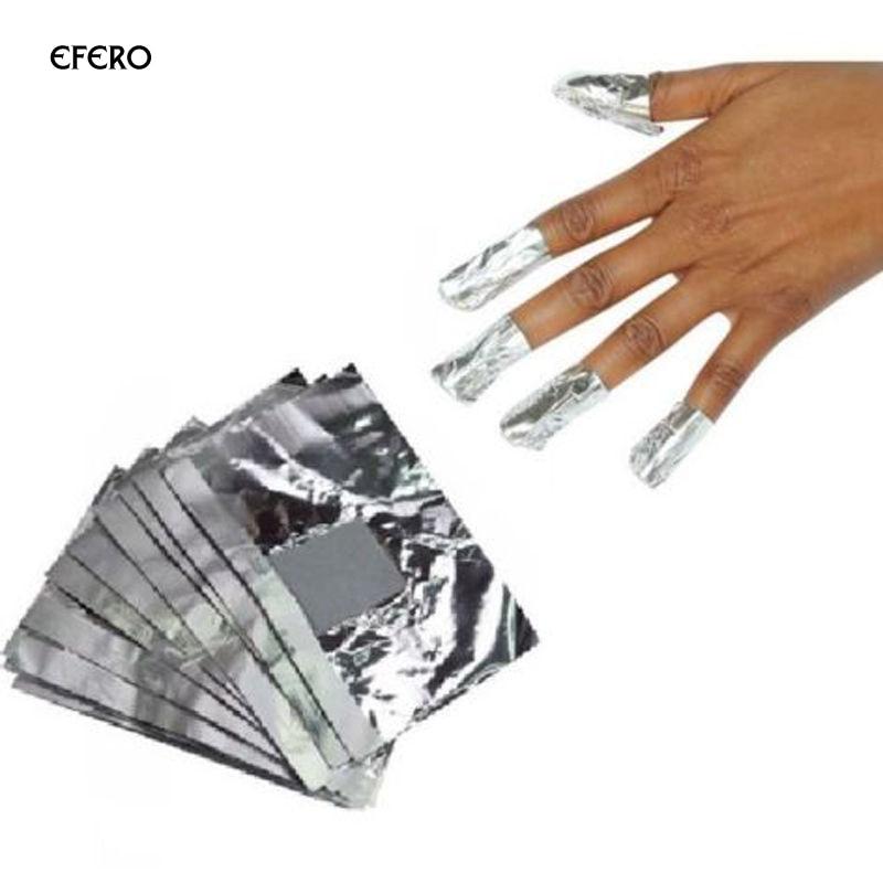 100pcs Aluminium Foil Nail Art Soak Off Acrylic Nail Polish Removal Nail Gel Cleaner Wipes Remover Makeup Tool