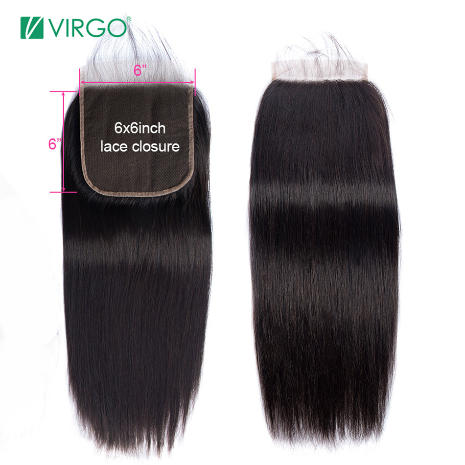 Virgo 6x6 Lace Closure Straight Hair Human Hair Lace Closure With Baby Hair  Swiss Lace Natural Color 8''-20'' Remy Hair