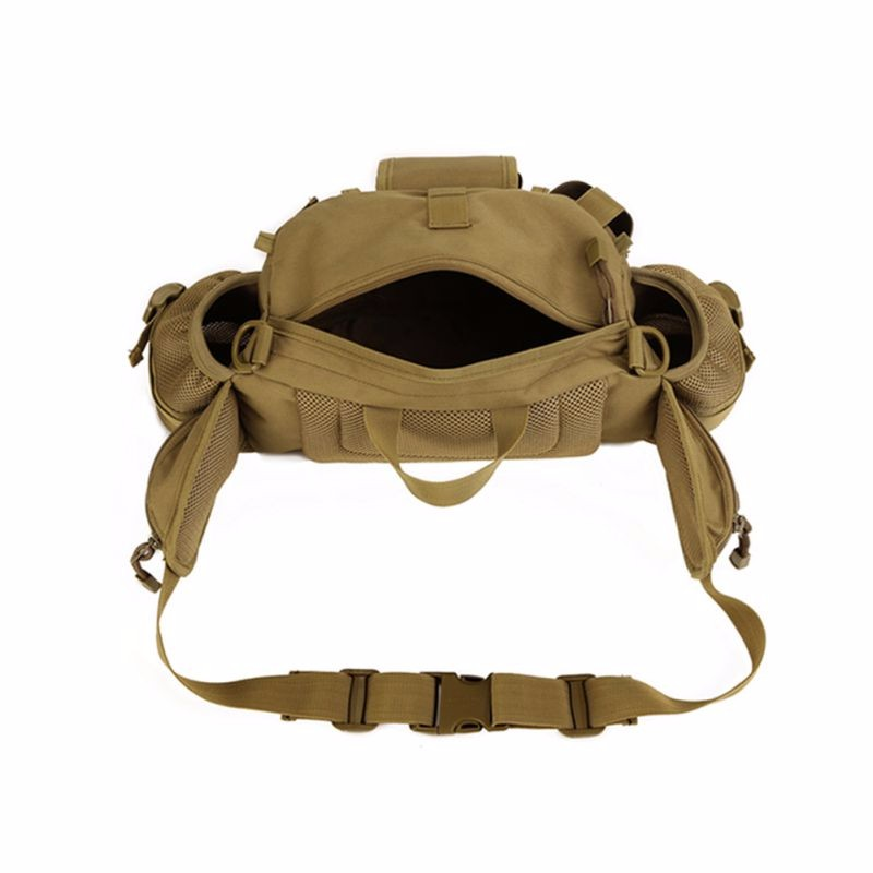 top view of multi pouch waist pack