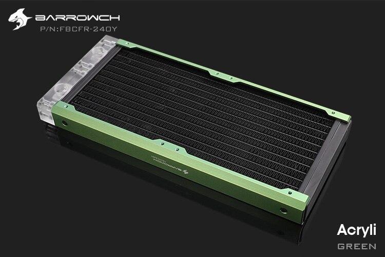 Barrowch FBCFR-240, хамелеон рыбы модульные 240 мм радиаторы, акрил/Пом съемные радиаторы, подходит для 120 мм вентиляторов - Цвет лезвия: Acrylic-Green