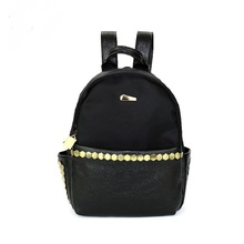 Мода Сплошной Черный Заклепки Рюкзаки DayPacks школьные Сумки Кожаные Оксфорд Мужчины Женщины Crossbody Сумка bolsa feminina