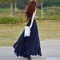 Elegante Azul Oscuro de Gasa Faldas Largas Para Las Mujeres 2016 Barato Una Línea de Longitud del Piso Faldas Maxi Faldas de Moda