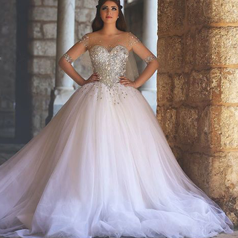 Fabulous Sheer Sleeve Crystal Wedding Dress Vestidos De