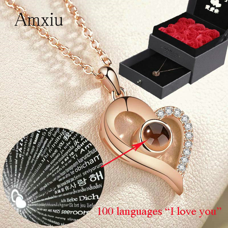 Amxiu Personalized 925 Silver Heart Necklace Projection 100 Languages I Love You Choker Necklace For Women Special Unique Gift