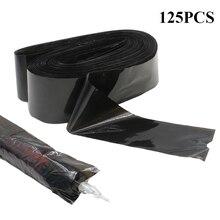 EMALLA 125Pcs TATTOO ปากกาและคลิปสายไฟซัพพลายถุงทิ้งสีดำกระเป๋าสำหรับ TATTOO Machine & คลิปสายไฟ
