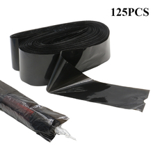 EMALLA 125Pcs Tattoo Machine Pen & Clip Cord Sleeves Bags Supply Black Disposable Covers Bags For Tattoo Machine & Clip Cord