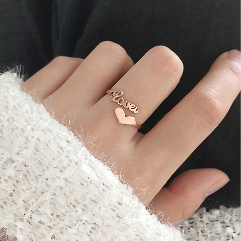 Rose Gold Personalized Letter Ring