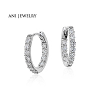 ANI 18k White Gold Women Circle Earrings 0 73 Ct Certified I S1 Diamond Circle Small