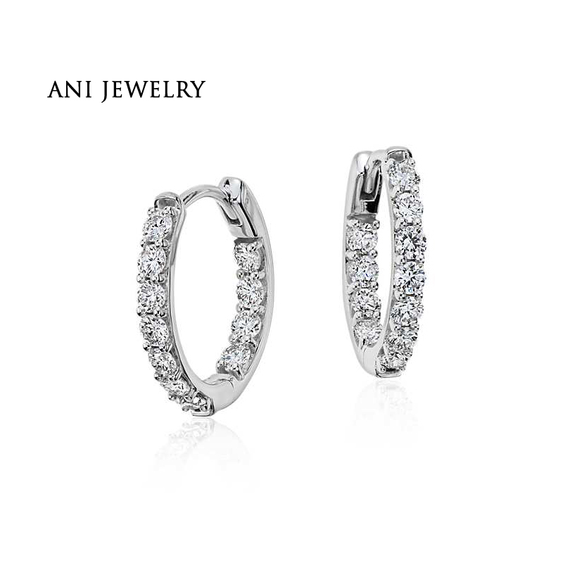 ANI 18k White Gold Women Circle Earrings 0.73 Carat Certified I/S1 Diamond Circle Small Earrings for Women Birthday Party Gift duoble heads juice dispenser slush machine 15l 2