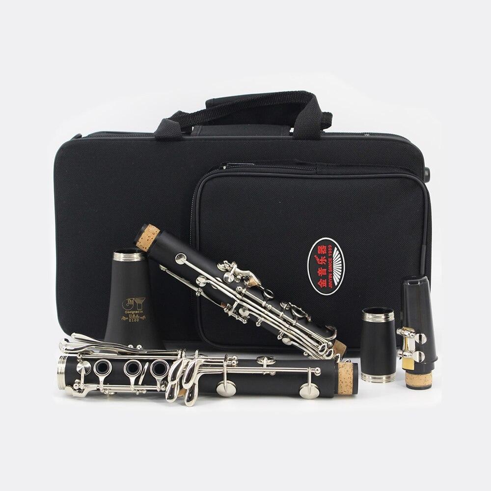 Brand JINYIN Clarinet ABS 17 Key bB Flat Brass Button Binocular Clarinet w/ Cleaning Cloth Screwdriver Case Woodwind Instrument