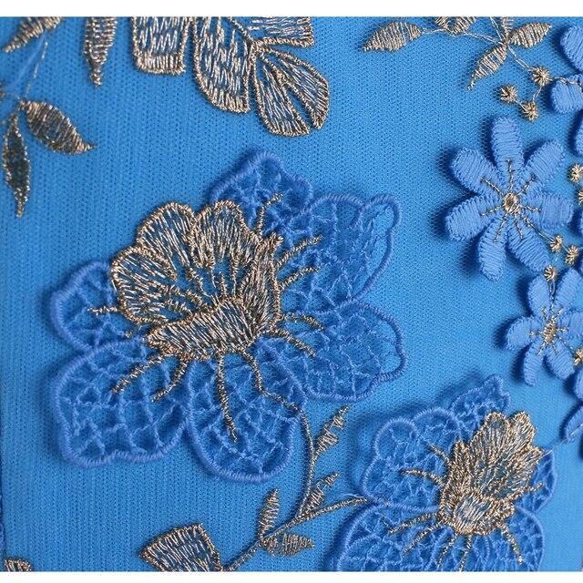 Elegant 3D Flower Embroidery Bodycon Dress
