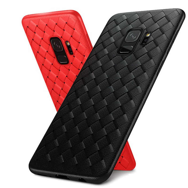 Weave Soft TPU S8 Plus Cases for Samsung Galaxy Note 8 Leather Pattern Matte Cover Coque for Samsung Note 9 Galaxy S9 Plus Note9