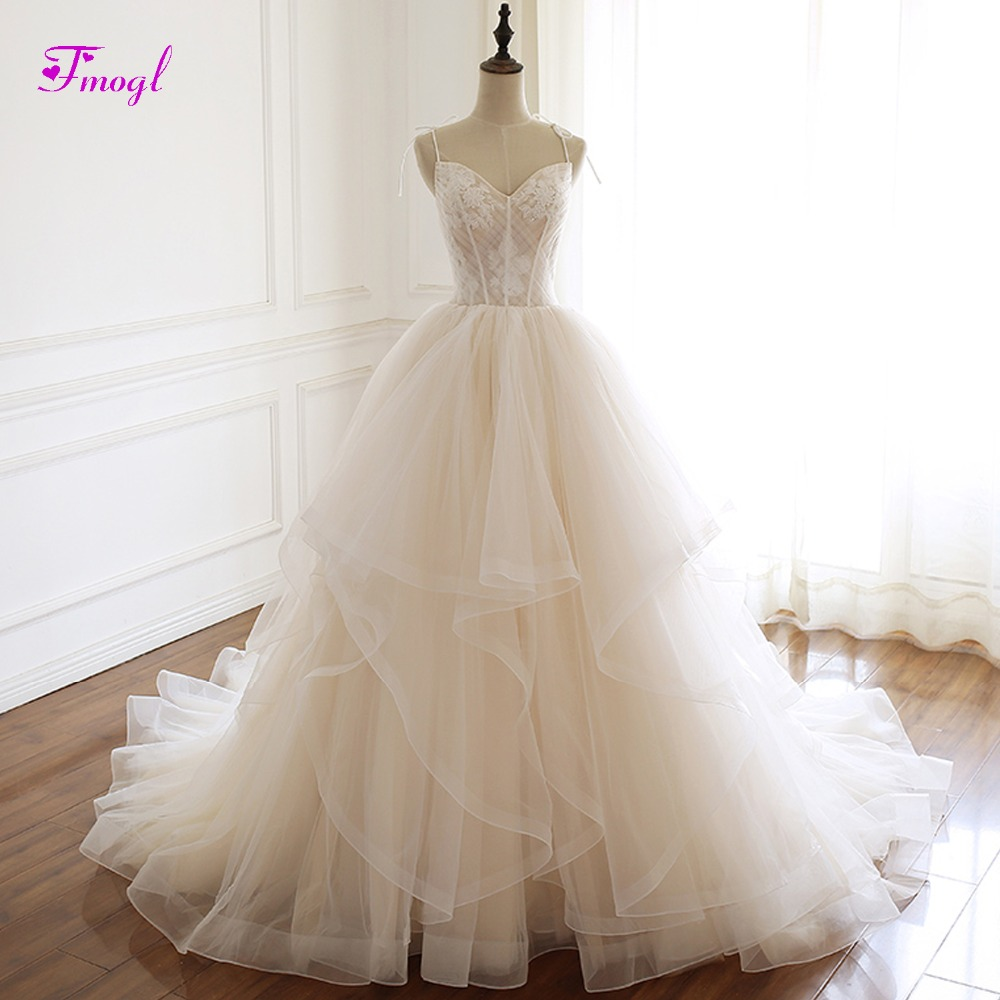 728e33bc8c3 Fmogl Sexy Sweetheart Neck Lace Up A-Line Wedding Dresses 2019 Graceful  Appliques Pleated Princess