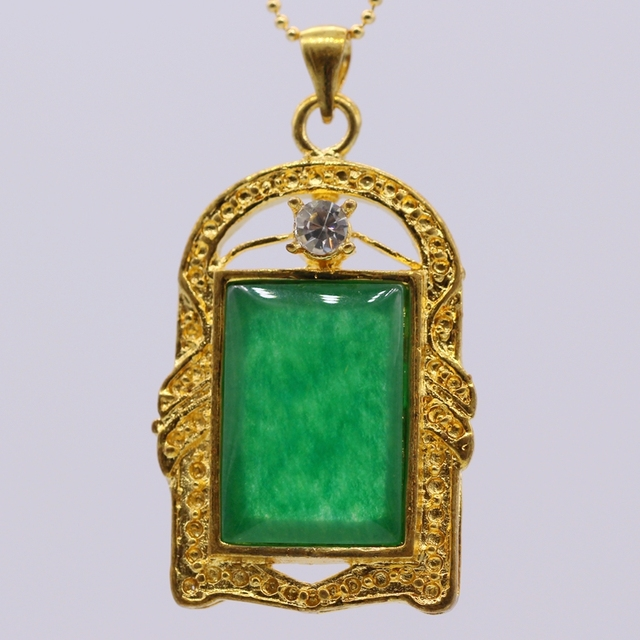 Gzjy chinese style gold color rectangular green stone pendants gzjy chinese style gold color rectangular green stone pendants necklaces for women lucky pendant aloadofball Image collections