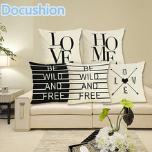 New Letter Print Cushion Cover Home Decorative Pillows Cover Letter Sea Marine Style Printed Sofa Throw Pillow Case 43x43cm