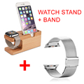 Madera de bambú soporte de carga del soporte docking station + correa para apple watch band correa de pulsera de acero inoxidable 38 42mm