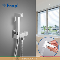 FRAP Bidet faucets valve bidet function square hand shower head tap crane 90 degree switch solid brass single cold water corner