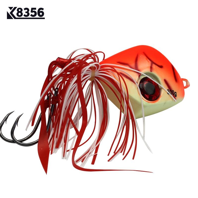 K8356 1Pcs 300g Lead Head Fishing Lures Jigging Jigs Arificial Bait Two Single Hooks Deep Sea Fishing Tackle Swimbait Orange