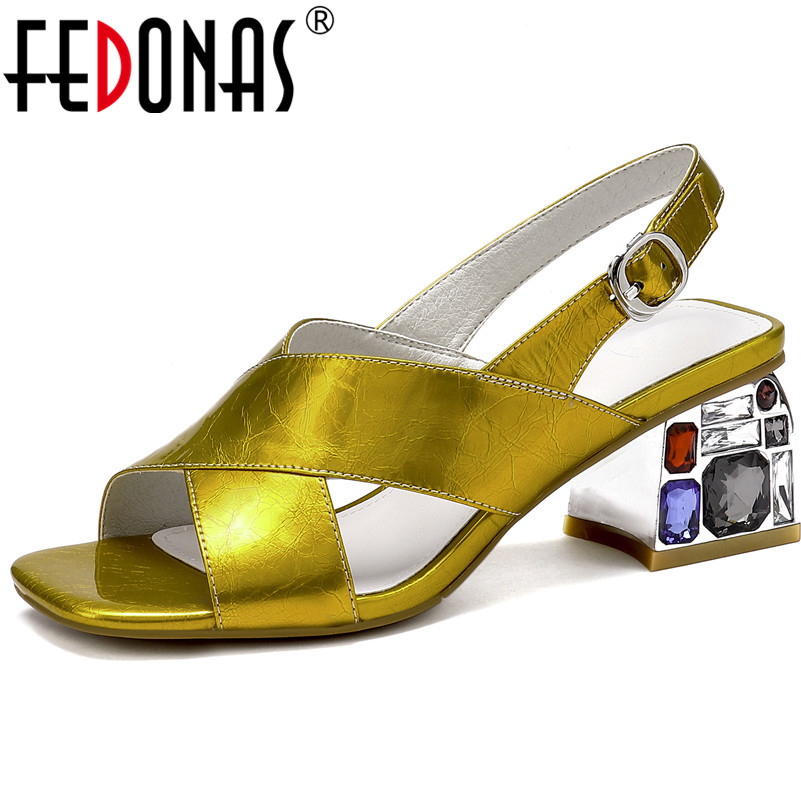 FEDONAS Fahion Elegant Sandals For Women Brand Design Genuine Leather Pumps Square High Heels Summer Buckle