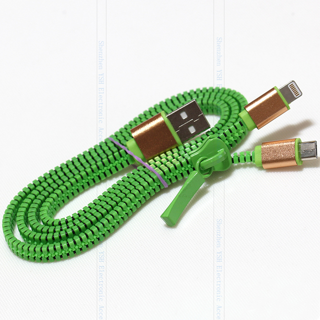 Zipper 2 in 1  USB Data  Charger Cable for iPhone Android Phone