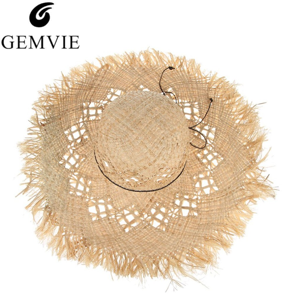 GEMVIE New Fashion Wide Brim Large Fields Straw Hats For Women Hollow Out Ladies Beach Sun Hats Fluff Floppy Summer Caps Boater image