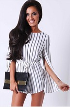 Free Shipping Hot Summer Women Stripe Print Jumpsuit Black White Stripe Slit Design Long Sleeve High Waist Romper 4F2460 S-XL