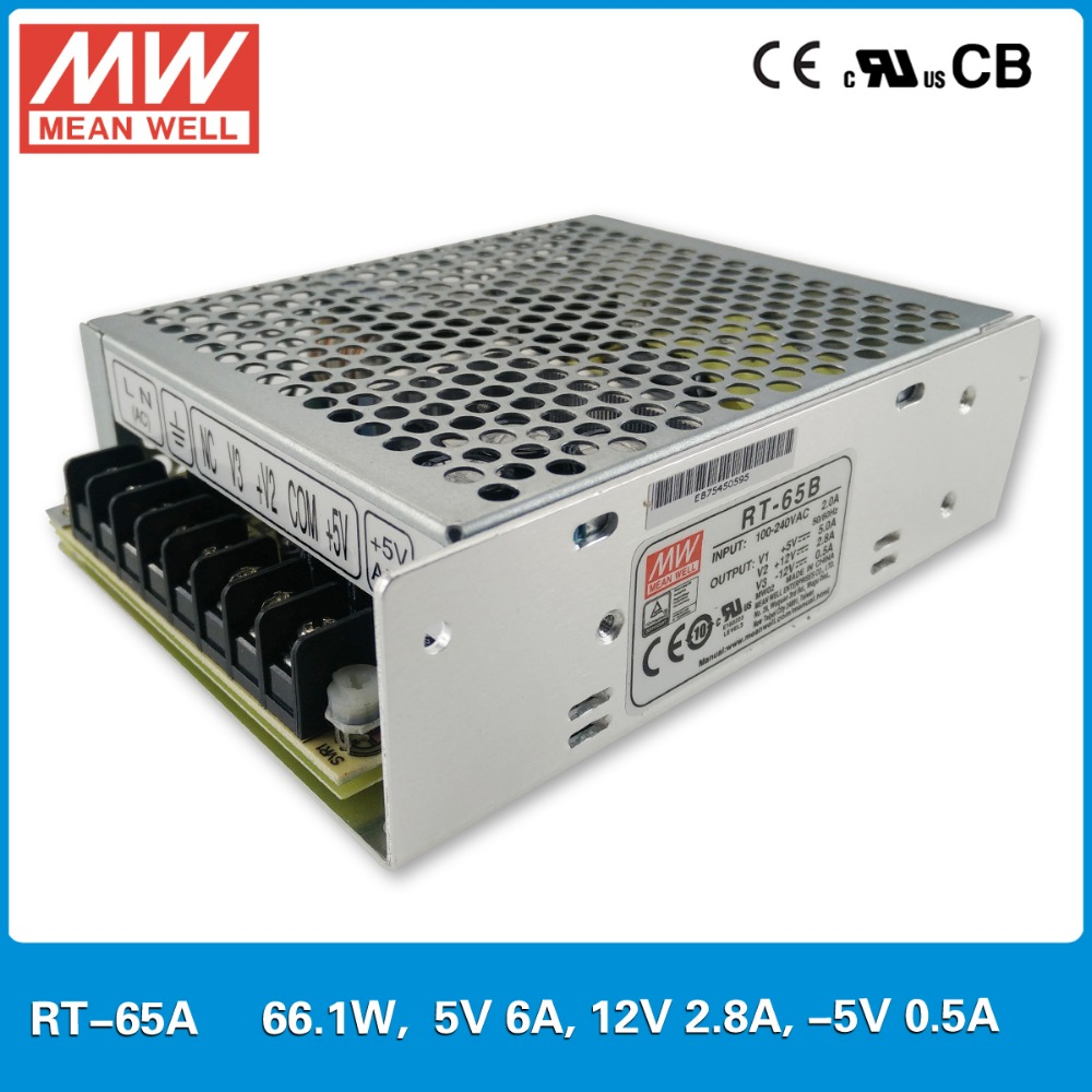 цена на Original Mean Well RT-65A 65W Triple output +5V/6A +12V/2.8A -5V/0.5A Meanwell Power Supply 65W
