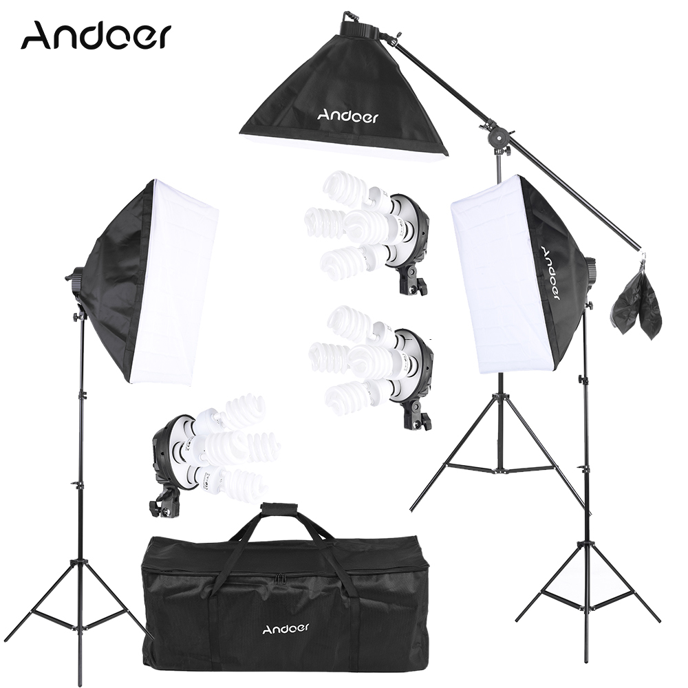 Andoer Studio Photo Video Lighting Kit With Bulb / 4in1 Bulb Socket / Softbox / Light Stand /  Cantilever Stick / Carrying Bag