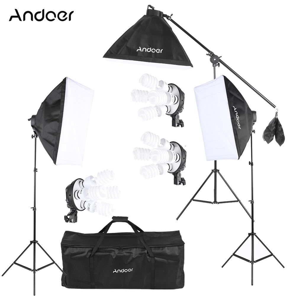 Prix pour Andoer studio photo vidéo kit d'éclairage avec ampoule/4in1 ampoule prise/Softbox/Lumière Stand/Cantilever Bâton/Transport sac