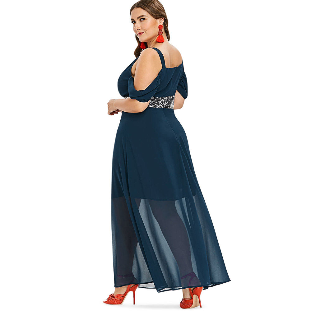 Wipalo Plus Size 5XL Sequins Cold Shoulder Floor Length Maxi Dress Casual  Solid High Waist Mesh Flowy Dress Party Dress Vestidos-in Dresses from  Women s ... 51ace7092829