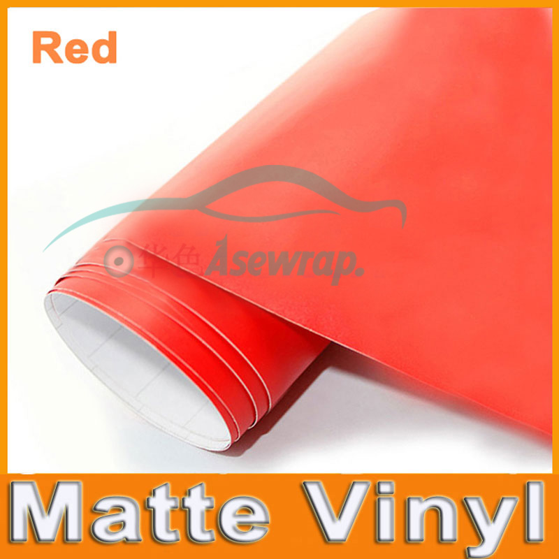 Free shipping high quality 30M a lot red Matte Vinyl Wrap with Air release Satin Matt