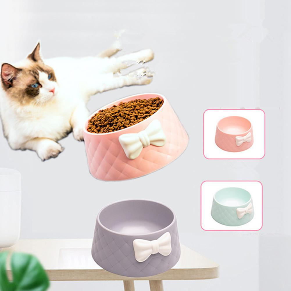 Cute Pet Feeders Bowknot Diamond Pattern Leakproof Bowl for Dog Cat Pets Food Bowls Puppy Water Drinking Bowl Feeding Bowls Cats 2