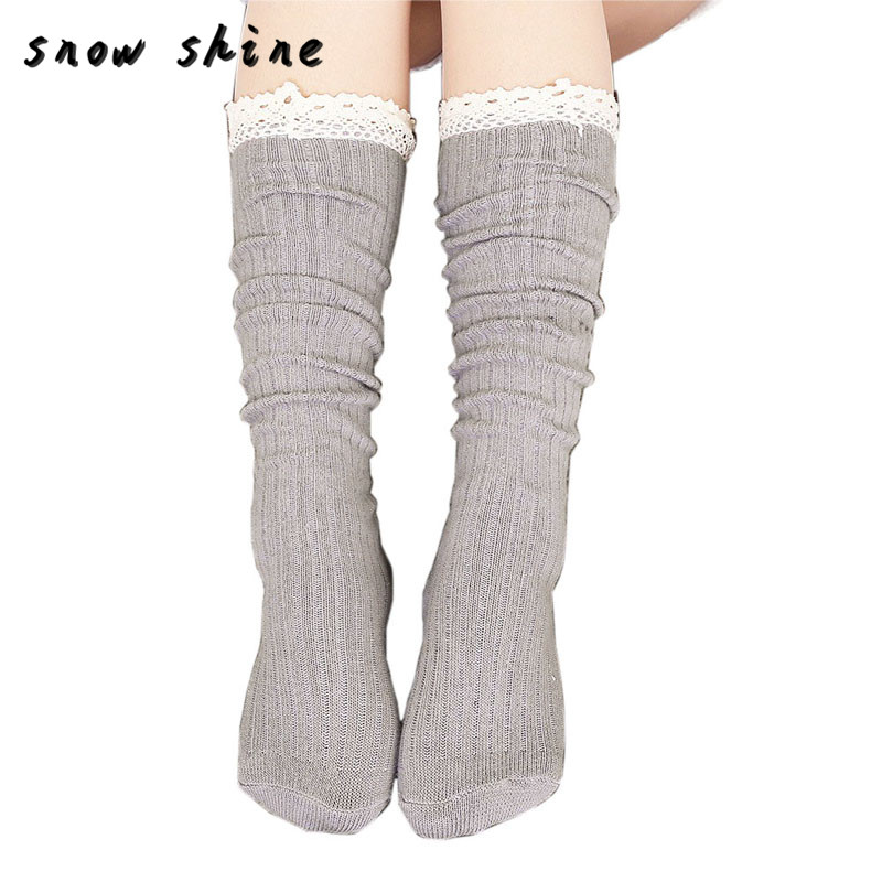 snowshine YLI Women Crochet Lace Trim Cotton Knit Footed Leg Boot Knee High Stocking free shipping