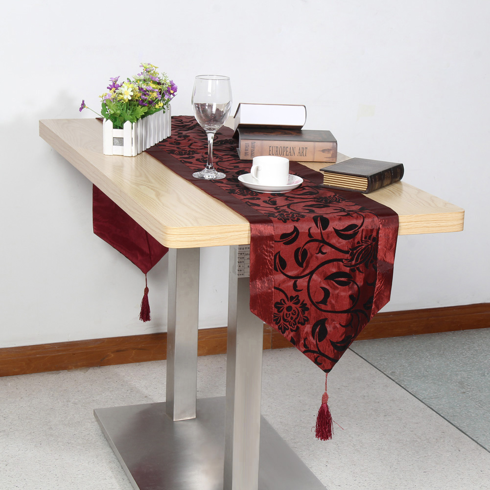 200*32cm Simple Embroidery Tablecloth Damask Table Runner Cloth Party Decor Home Table Cloth Overlay Wedding Decoration