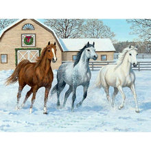 Yikee алмазная живопись три лошади квадратная полная вышивка