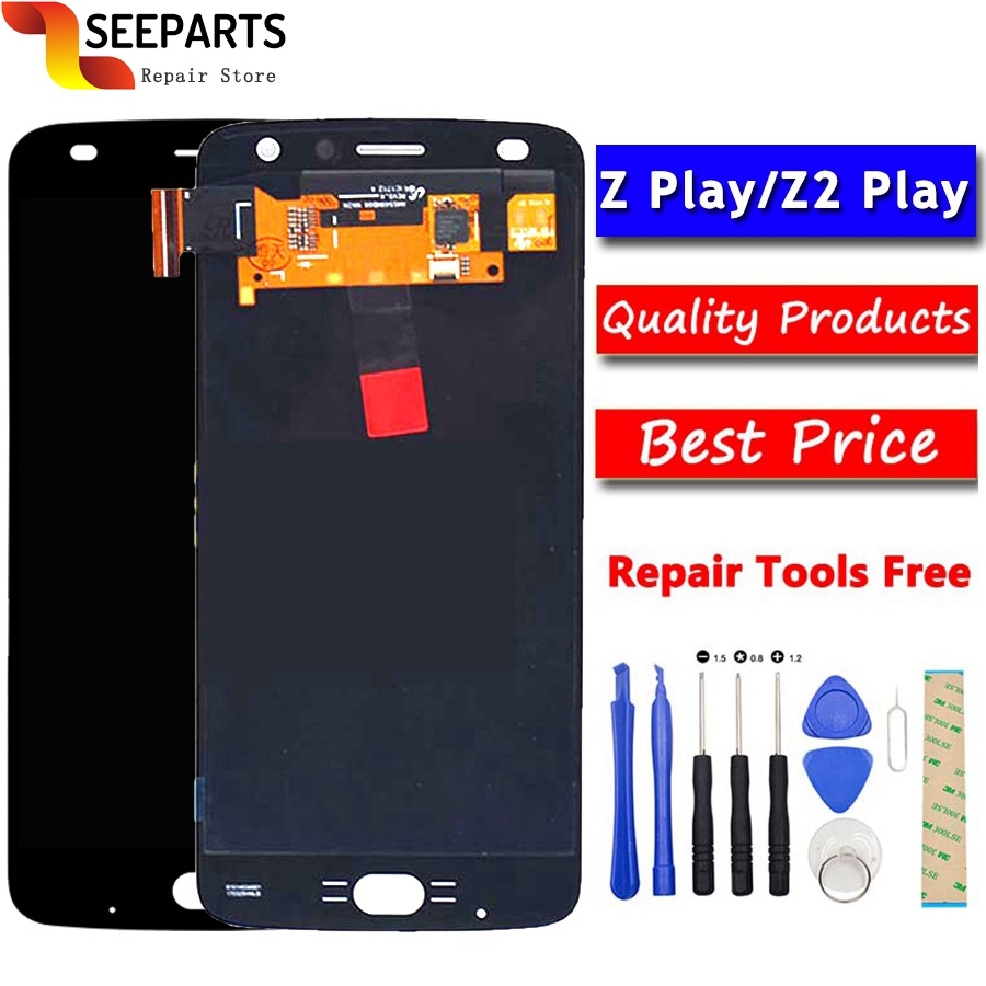 Original For Motorola Moto Z Play LCD Display With Touch Screen Digitizer Panel Assembly Replacement Z2 For 5.5
