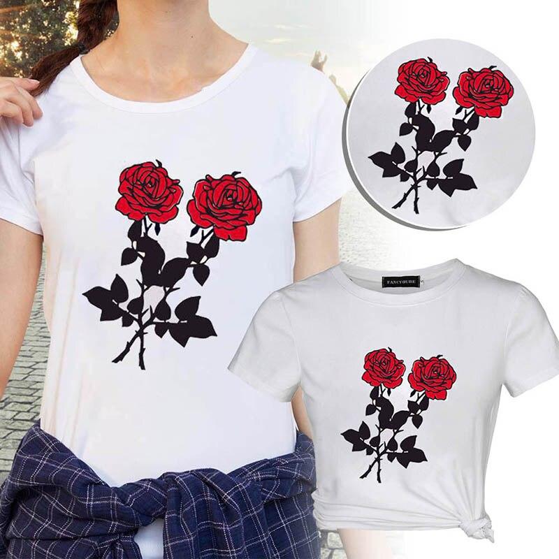 Fashion Letter Print T Shirt Rose Harajuku T-Shirt 2019 Women Summer Casual Short Sleeve TShirt