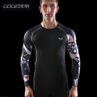 Mens Compression Shirts Bodybuilding Skin Tight Long Sleeves Jerseys Clothings MMA Crossfit Exercise Workout Fitness Sportswear