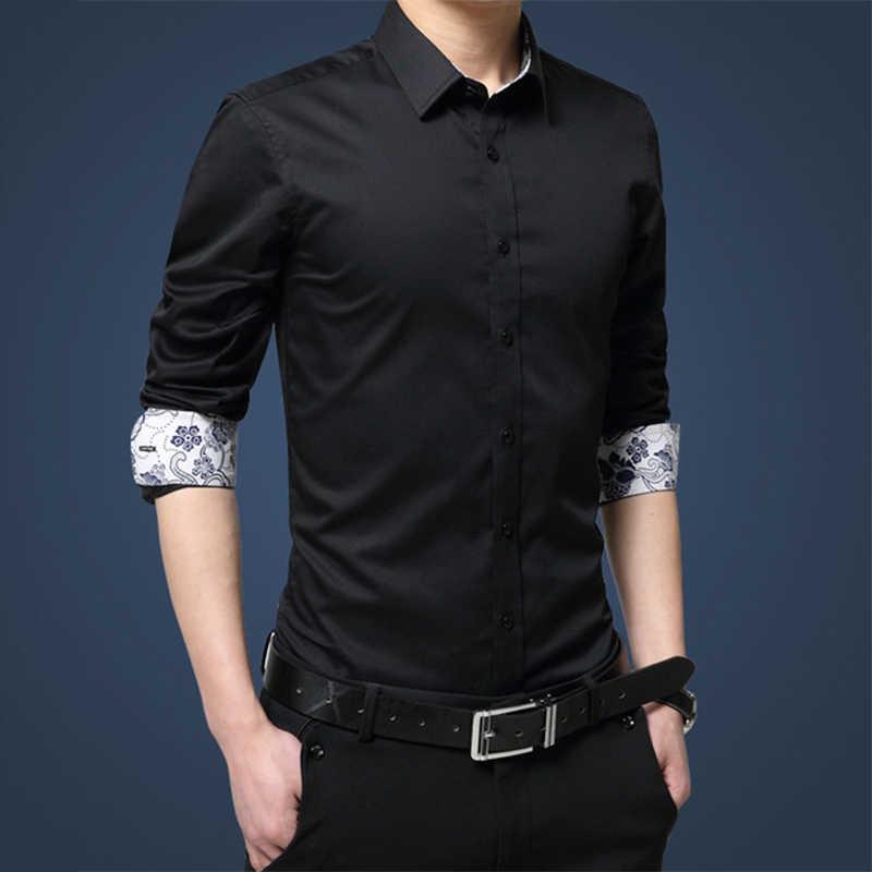 メンズ綿黒のドレスシャツトップ長袖ターンダウン襟スリムフィット男性ストリートトップス夏男性固体 tシャツ服