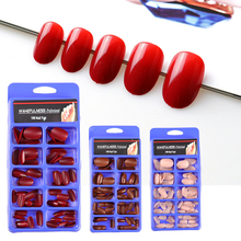 100PC/Fake Nails oval Faux Ongles Press On Full Cover Tips Round Head Cherry Red Wine Artificial Fake